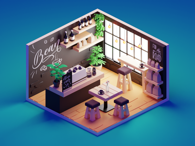 Coffee Shop room coffee shop hipster cafe coffeeshop lowpolyart low poly diorama isometric lowpoly render blender illustration 3d