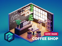 Coffee Shop Tutorial coffee room tutorial coffeeshop lowpolyart low poly diorama isometric lowpoly render blender illustration 3d