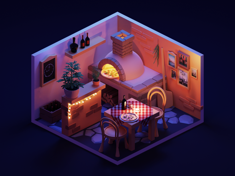Night Lighting room pizzeria pizza tutorial lowpolyart low poly diorama isometric lowpoly render blender illustration 3d