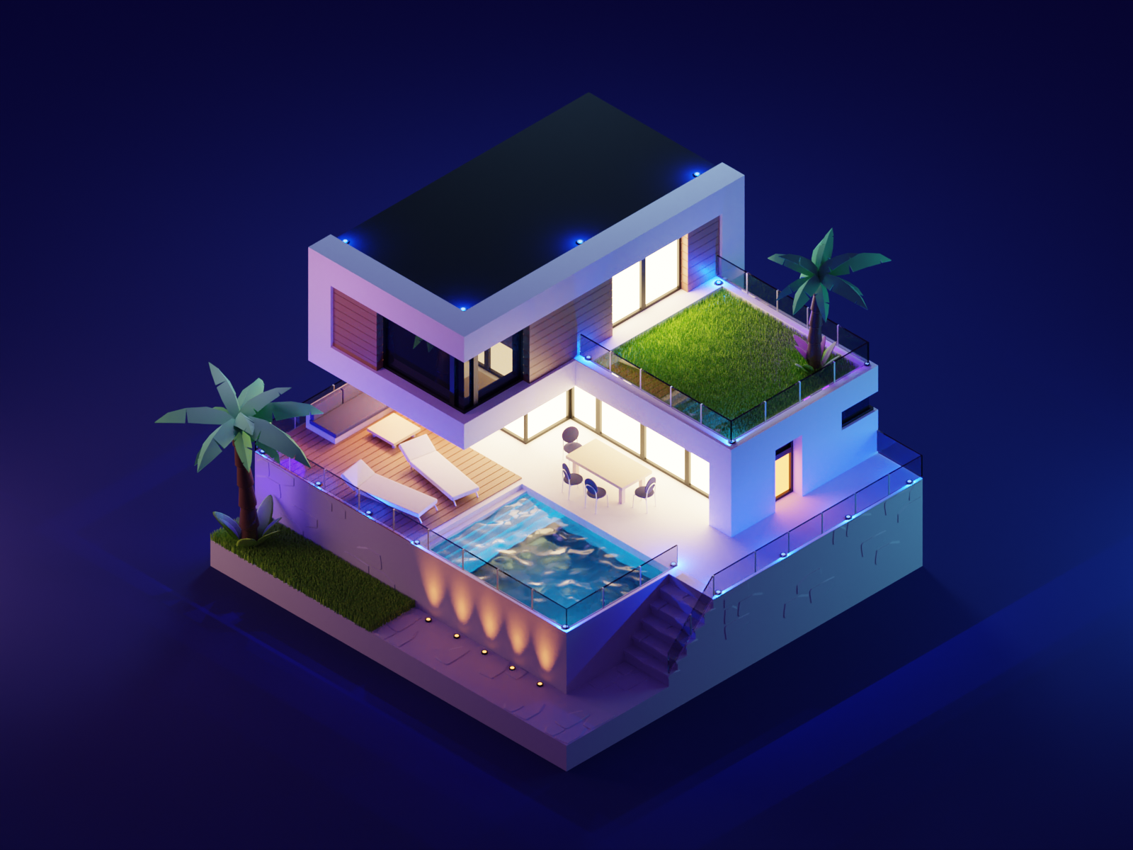 Summer House pool summer house architecutre lowpolyart low poly diorama isometric lowpoly blender illustration 3d