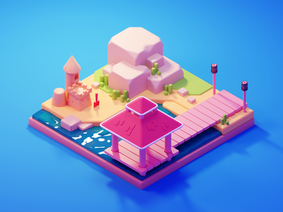 Beach Illustration summertime summer beach low poly diorama isometric lowpoly blender illustration 3d
