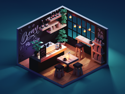 Evening Coffee room coffee shop coffee cafe diorama low poly isometric lowpoly render blender illustration 3d