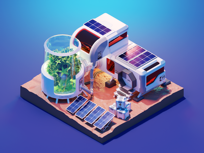 Martian Colony mars martian colony space sci-fi diorama isometric render blender illustration 3d