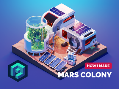 Martian Colony Tutorial space martian mars colony sci-fi tutorial diorama isometric render blender illustration 3d