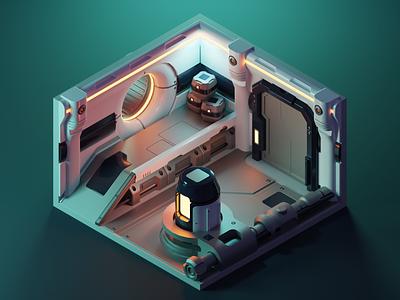 Dark Corridor sci-fi room spaceship scifi diorama isometric render blender illustration 3d