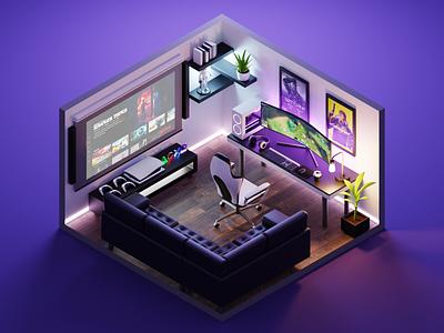 Gaming Room pc ps5 gaming room room diorama isometric render blender illustration 3d