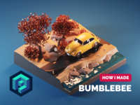 Bumblebee Tutorial car volkswagen beetle bumblebee fanart tutorial diorama lowpoly isometric render blender illustration 3d