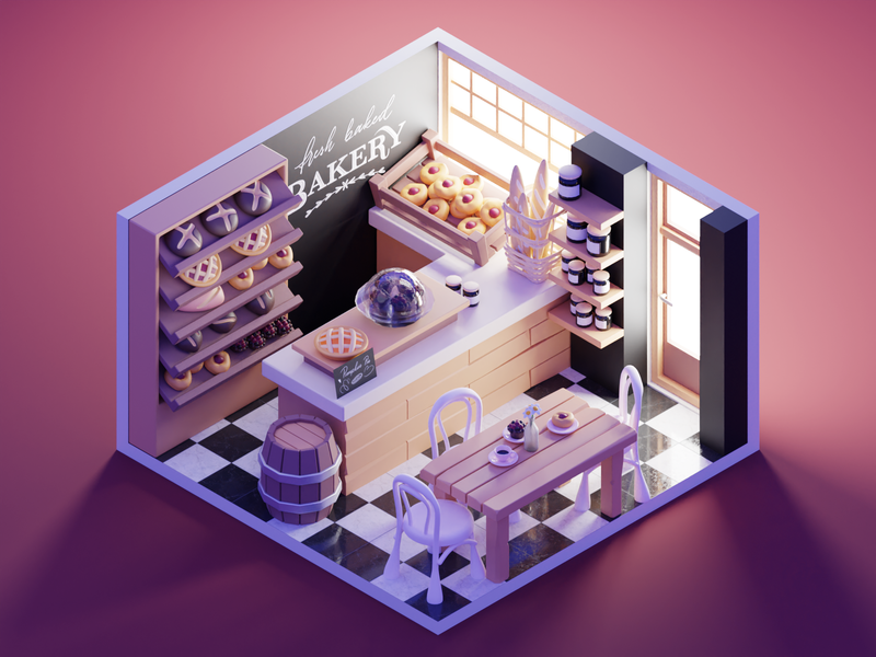 Bakery shop bakery room diorama lowpoly isometric render blender illustration 3d