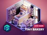 Bakery Tutorial shop bakery room tutorial diorama lowpoly isometric render blender illustration 3d
