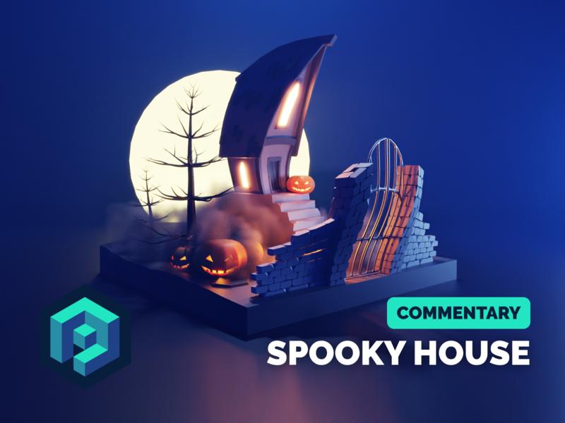Spooky House Tutorial house spooky halloween tutorial lowpoly isometric render blender illustration 3d