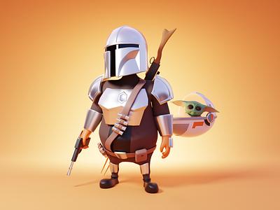 Mandalorian baby yoda 3d character character design star wars mandalorian character render blender illustration 3d