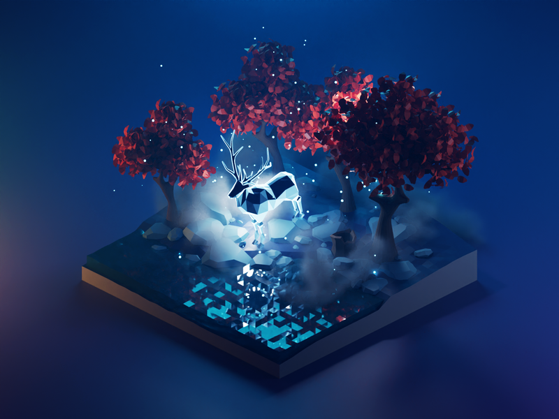 Patronus Charm patronus harry potter diorama lowpolyart low poly lowpoly isometric render blender illustration 3d