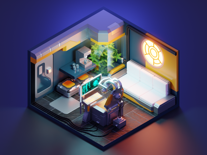 VR Room cyberpunk virtual reality vr room scifi lowpoly diorama isometric blender illustration 3d