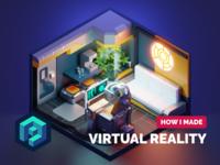 VR Room Tutorial vr room cyberpunk scifi tutorial diorama lowpoly isometric blender illustration 3d