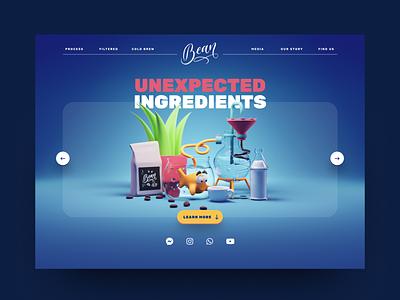 Unexpected Ingredients cartoon coffee webdesign website uidesign ui render blender illustration 3d