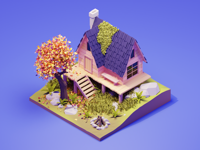 Forest Cabin fall autumn forest cabin lowpolyart low poly diorama lowpoly isometric render blender illustration 3d