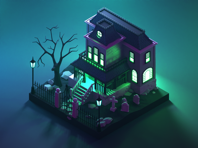 Haunted House house spooky haunted house halloween lowpolyart low poly diorama lowpoly isometric render blender illustration 3d
