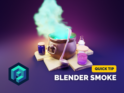 Smoking Cauldron Tutorial cauldron halloween hero image smoke simulation smoke diorama render blender illustration 3d