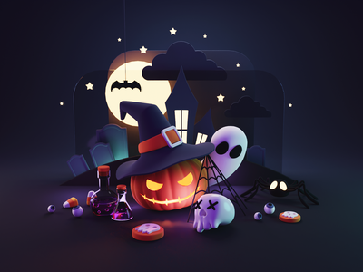 Trick or Treat! web illustration website illustration hero image trickortreat halloween diorama render blender illustration 3d