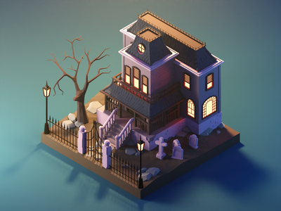 Haunted House in the Daylight spooky haunted house halloween lowpolyart low poly diorama lowpoly isometric render blender illustration 3d