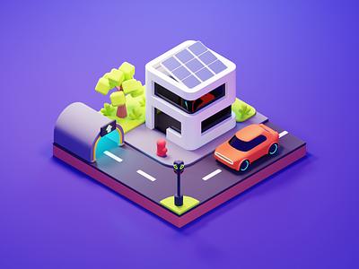 City Street electric future car street city lowpoly diorama isometric blender illustration 3d