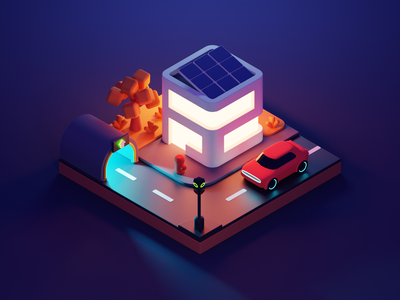 Night Street city building low poly diorama lowpoly isometric render blender illustration 3d