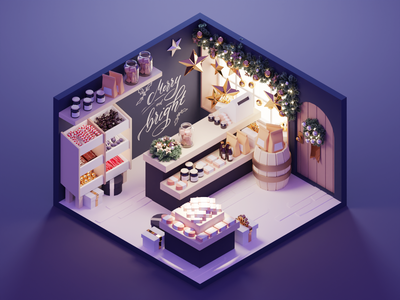 Gift Shop xmas christmas gift shop shop room low poly diorama lowpoly isometric render blender illustration 3d