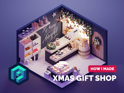Gift Shop Tutorial xmas christmas shop room diorama lowpoly isometric render blender illustration 3d