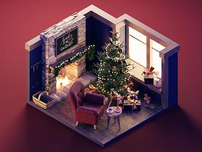 Christmas Hearth living room fireplace christmas room diorama isometric render blender illustration 3d