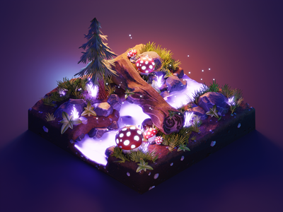 Enchanted Forest fantasy stylized lowpolyart low poly diorama lowpoly isometric render blender illustration 3d