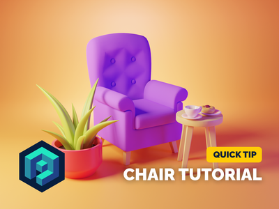 Chair Tutorial hero image 3d illustration chair tutorial render blender illustration 3d
