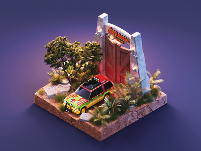 Jurassic Park substance painter jurassic park diorama isometric render blender illustration 3d
