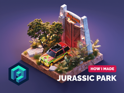 Jurassic Park Tutorial jurassic park tutorial substance painter texture painting diorama isometric render blender illustration 3d