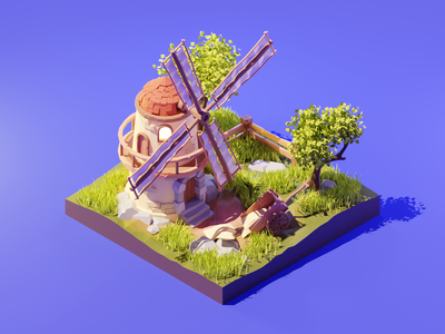 Windmill nature windmill lowpolyart low poly diorama lowpoly isometric render blender illustration 3d
