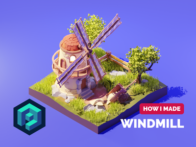 Windmill Tutorial windmill tutorial lowpolyart low poly diorama lowpoly isometric render blender illustration 3d