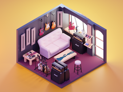 Guitar Store room guitar store guitar diorama lowpoly isometric render blender illustration 3d