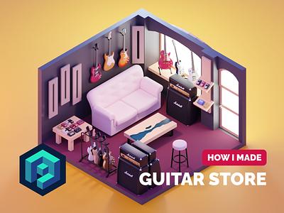 Guitar Store Tutorial tutorial room guitars music guitar store diorama isometric render blender illustration 3d