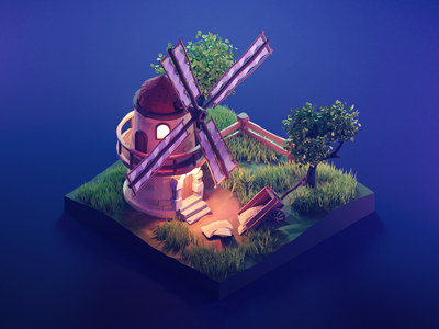 Windmill at Night windmill lowpolyart low poly diorama lowpoly isometric render blender illustration 3d