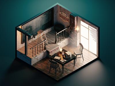Peaky Blinders tv show fan art peaky blinders diorama isometric render blender illustration 3d