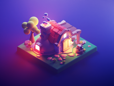 Blacksmith at Night settlers blacksmith game art lowpolyart low poly diorama lowpoly isometric render blender illustration 3d