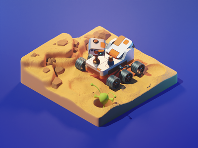 Mars Rover perseverance rover mars space diorama isometric render blender illustration 3d