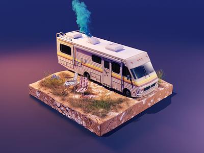 Breaking Bad rv car breaking bad substance substancepainter lowpolyart diorama isometric blender illustration 3d