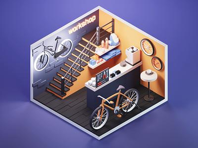 Bike Shop bike shop shop low poly lowpolyart diorama lowpoly isometric render blender illustration 3d