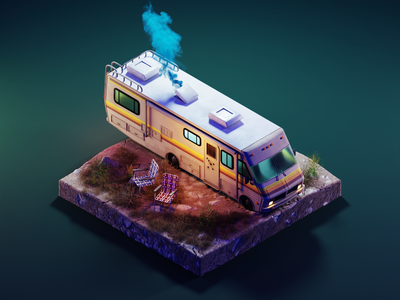 Breaking Bad at Night fleetwood bounder rv breaking bad texture painting substance painter low poly diorama lowpoly isometric render blender illustration 3d