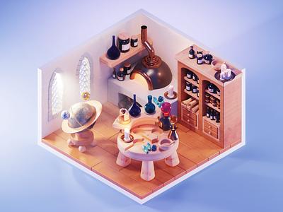Alchemist alchemist fantasy stylized low poly lowpolyart diorama lowpoly isometric render blender illustration 3d