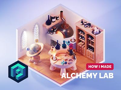 Alchemy Lab Tutorial alchemy medieval fantasy lowpolyart diorama lowpoly isometric render blender illustration 3d