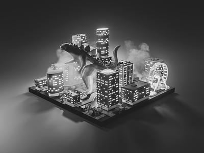 Godzilla gojira godzilla fanart lowpolyart low poly diorama lowpoly isometric render blender illustration 3d