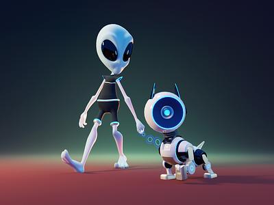 Alien & Cyberdog robot dog cyber dog alien character designer 3d character character illustration character design render blender illustration 3d