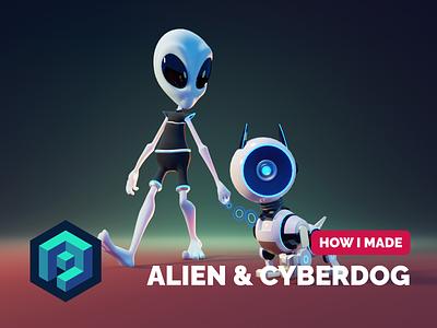 Alien & Cyberdog Tutorial robot dog alien sci-fi tutorial character modeling characterdesign render blender illustration 3d