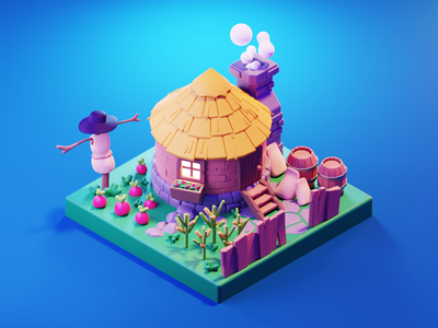 Farmer House farm house farm game icon game illustration game art lowpolyart low poly diorama lowpoly isometric render blender illustration 3d